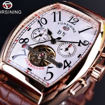 Forsining GMT876 Square Mechanical Rose Gold Case White Dial Brown Leather Strap Mens Luxury Automatic Watch