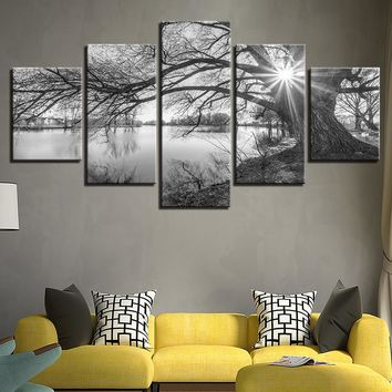 Black and White Tree Over Lake Landscape Canvas