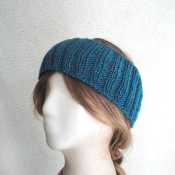Teal Earwarmer Headband, Sparkly Wool, Women Teen Girls, Warm Ears, Hat Alternative