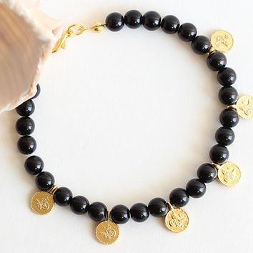 Black bracelet sultan's signature coin charm bracelet istanbul ethnic arabic ottoman jewelry best friend birthday gift present