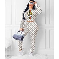 GUCCI Autumn Women Fashion Embroidery Top Sweater Pullover Pants Trousers Set Two-Piece White