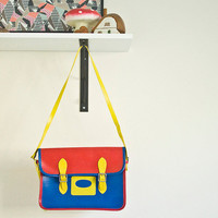 Primary colour vintage childs satchel book bag