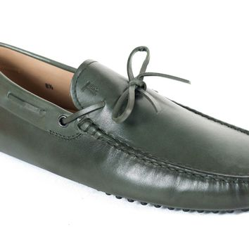 Tod's Men's Green Leather Gommini Driving Moccasins