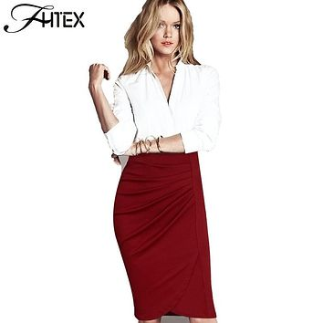 Business Pencil Skirt for Women New Fashion Solid Color Ruched Business Office Wear to Work High Waist Skirt Formal Skirt