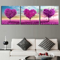 Paintings On Canvas Wall Art Framework Home Decor 3 Pieces Loving Trees Pictures Living Room HD Prints Purple Heart Trees Poster