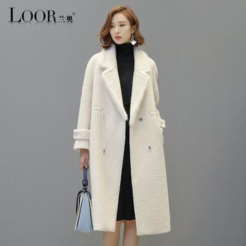 winter coat women manteau femme hiver wool coat casaco feminino parka real wool and mink fur coat womens long down jackets