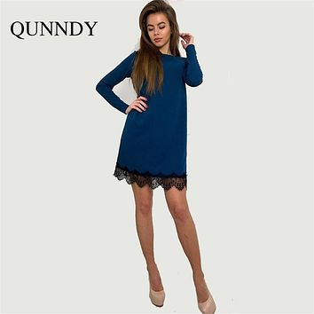 Ukraine causal office lace mini Dress women Long Sleeve O-neck solid Party Dresses plus size summer vestidos mujer bodycon