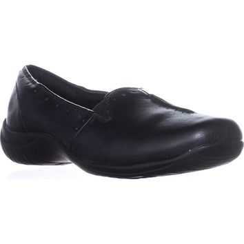 Easy Street Purpose Slip-On Flats, Black Smooth, 9 US