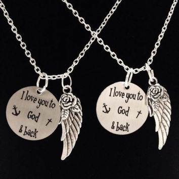 2 Necklaces I Love You To God And Back The Moon And Back Anchor Angel Wing Set