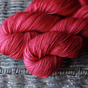 Cranberry - Sock/Fingering Merino-Silk Blend Hand-Dyed Yarn - 100g, 440yds