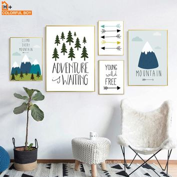 COLORFULBOY Forest Mountain Arrow Adventure Quotes Wall Art Print Canvas Painting Nordic Poster Wall Pictures Kids Room Decor