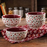 """The Pioneer Woman Posies Linen 6"""" Non-Footed Bowl Set, 4-Pack - Walmart.com"""