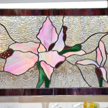 Stained Glass Window Panel, Pink Magnolia, with matching  matted and signed print.