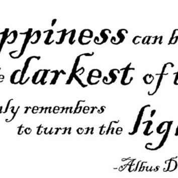Wall Decal Happiness Quote by Dumbledore/ Harry by bushcreative
