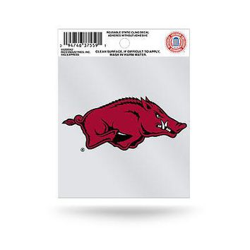 "Licensed Arkansas Razorbacks NCAA 3.5"" Small Static Cling Window Car Decal Hogs by Rico KO_19_1"