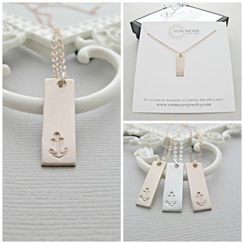 Vertical bar necklace, Bar Necklace, Long necklace, Pendant necklace, Rose Gold bar necklace, Rose Gold necklace, Minimalist jewelry