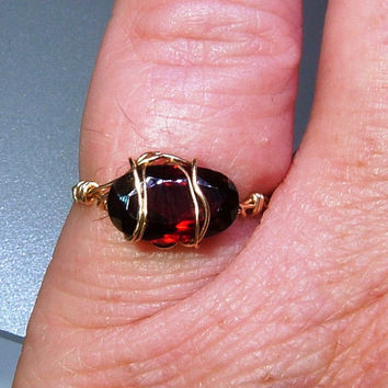 14kt East West Garnet Ring Solitaire Pinky Midi Band Hand Wrapped Solid Gold Wire