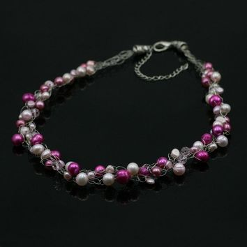 Pink pearl Chunky crocheted wiring choker necklace bridesmaids gifts Free US Shipping handmade Anni Designs