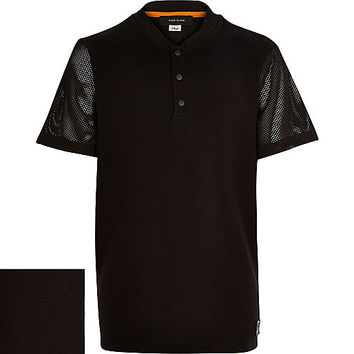 River Island Boys black mesh sleeve baseball t-shirt