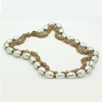Miriam Haskell Large Baroque Silver Pearl and Gold Filigree Necklace