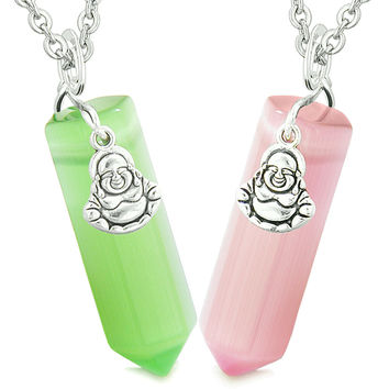 Happy Buddha Love Couples Best Friends Crystal Points Amulet Pink Neon Green Simulated Cats Eye Necklaces