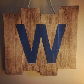 Chicago Cubs W Wooden Stained Flag; Baseball Decor; Wall Decor; mlb; Man Cave; Pallet Wood; Reclaimed; Wall Art; Cubs Win; Chicago Flag;