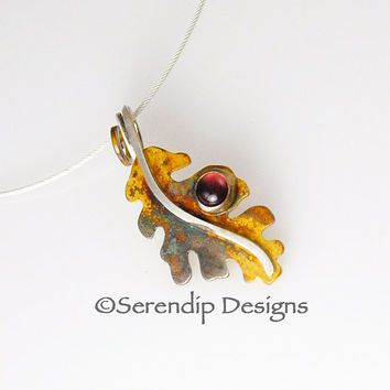 Silver Patina Oak Leaf Necklace Pendant with Garnet Silver Oak Leaf Spiral