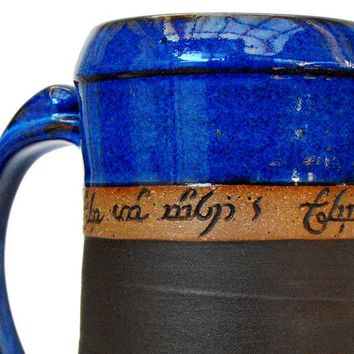 Personalized, Elvish Tankard, Stein, Personalized Beer Mug,  24oz, Scratch Made Pottery, LOTR