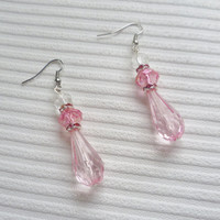 pink beaded earrings handmade earrings bead drop earrings for women fashion jewellery pink bead earrings dangle earrings beaded jewellery