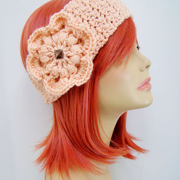 FREE SHIPPING - Crochet Ear Warmer Headband with Flower and Button - Pink Peach
