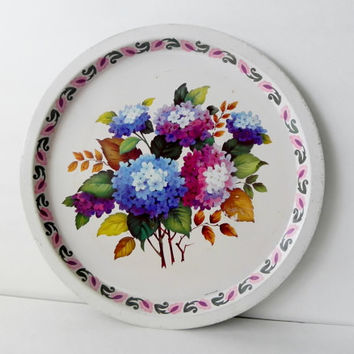 Vintage  Hydrangea Tole Tray, England, Flowers, Cottage, Shabby Chic, Floral, Round