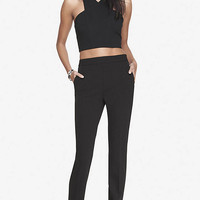 HIGH WAISTED KNIT CREPE ANKLE PANT from EXPRESS