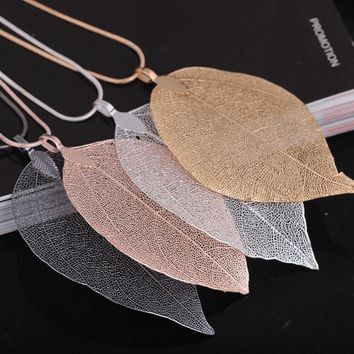 Gift New Arrival Shiny Stylish Jewelry Leaf Sweater Chain Strong Character Simple Design Necklace [11192815188]
