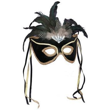 Mardi Gras Feather Couples Mask - Black