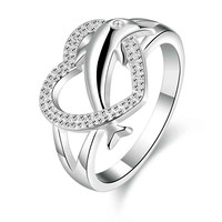 Lovely silver plated wedding ring Heart Dolphin ring men summer jewelry SMTR708
