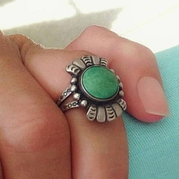 FRED HARVEY Era Old Pawn Antique Turquoise Ring, Native American Sterling NAVAJO Jewelry Rings, Size 6, Arrow Stampings, Gift for Her