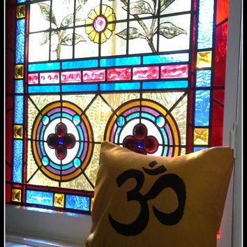 Om #Meditative 12 inch Square Pillow Sham in #Yellow Canvas.  With a flair of #India and the #exotic