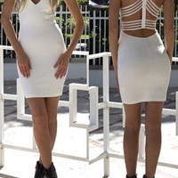 White Backless Bodycon Mini Dress