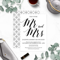 Rustic Chic Mr. and Mrs. Engagement Party Invitations-Calligraphy Engagement Party Invites-Engagement Party Invitation Printable-DIY