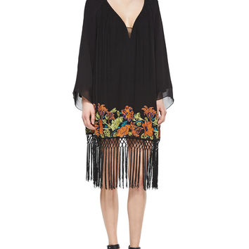 Women's Seychelle Embroidered Drape Dress - French Connection - Black