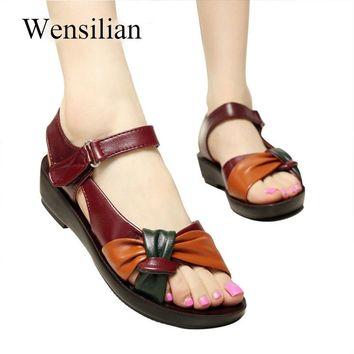 Summer Genuine Leather Flat Sandals Women Hook Loop Sandals Mother Butterfly Knot Soft Ladies Beach Shoes Zapatos Mujer