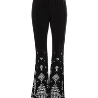 Bohemian Rhapsody Black Velvet Flare Bell Bottom Pants