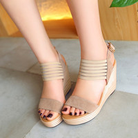 Summer Leather High Heel Shoes Waterproof Thick Crust Wedge Platform Shoes [4920287620]