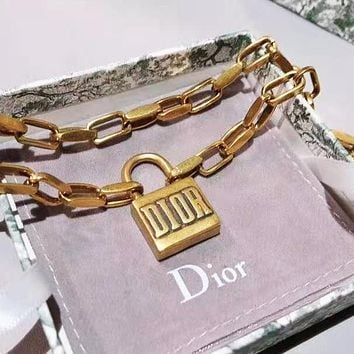Dior Classic Fashion Women Personality Lock Pendant Necklace Jewelry Accessories