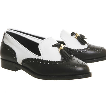 Office Ringo Tassel Brogue Loafers Black White Leather - Flats