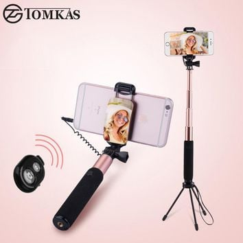 TOMKAS Selfie Stick with Bluetooth Remote Mini Tripod For Phone Monopod Palo Selfie Stick For iPhone 6 5S Android Samsung Xiaomi