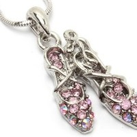 Beautiful Pink Crystal Ballerina Ballet Slippers Shoes Charm Silver Tone Necklace for Girls Teens Women