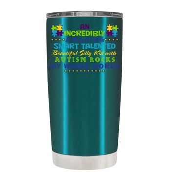 TREK An Amazing Smart Talented Kid with Autism on Teal 20 oz Tumbler Cup