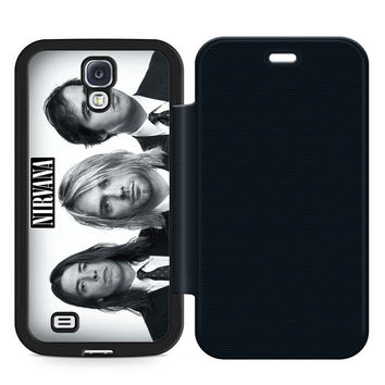 Nirvana Band Leather Wallet Flip Case Samsung Galaxy S4