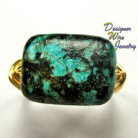 DWJ0212 Gorgeous African Turquoise Gold Wire Wrap Ring